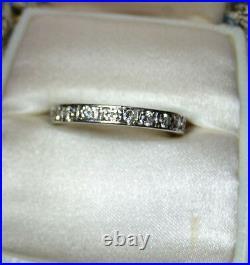 Vintage Platinum 0.80 ct TW Diamond full Eternity size 7.25wedding band ring