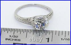 Vintage Platinum 1.44CT VS1/H diamond solitaire filigree wedding ring size 7.25