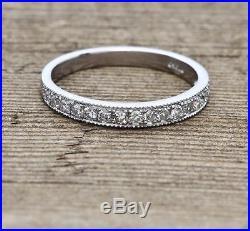 Vintage Platinum. 30ctw F-VS1 Genuine Diamond Milgrain Wedding Band Ring Sz 7.75