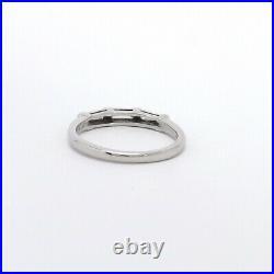 Vintage Platinum 3 Stone Baguette Diamond Wedding Anniversary Band Ring VVS GH