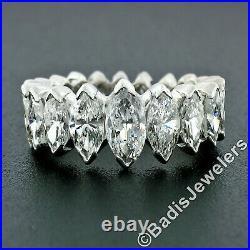 Vintage Platinum 4.20ctw V Prong Graduated Marquise Diamond Eternity Band Ring