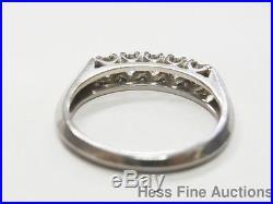Vintage Platinum 5 Stone Fine Diamond 1930s Wedding Anniversary Band Ring