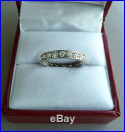 Vintage Platinum Diamond Eternity 0.88 Tcw Wedding Band Ring Size 5 3/4