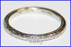 Vintage Platinum Patterned Wedding Ring 2.3mm wide Millgrain Size O 1/2