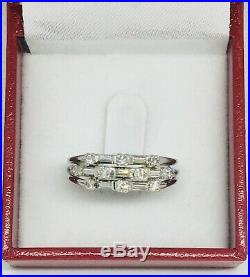 Vintage Platinum Round & Baguette Diamond Band Wedding Ring