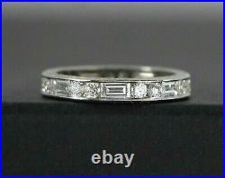 Vintage Platinum Round Baguette Diamond Filigree Eternity Wedding Band Ring 5.5