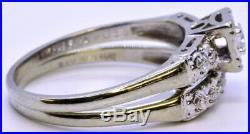 Vintage Ray of Love 14K Solid White Gold Round Diamond FishHook Wedding Ring Set