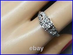 Vintage Retro Engagement Wedding Antique Ring 14K White Gold Over 2.3 Ct Diamond