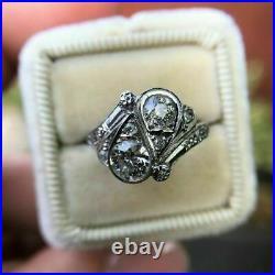 Vintage Retro Engagement Wedding Cocktail Ring 1.9Ct Diamond 14K White Gold Over