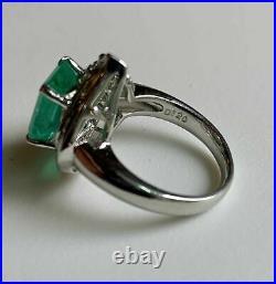 Vintage Retro Engagement & Wedding Early Era Ring 2.30 Ct Emerald 14K Gold Over