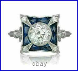 Vintage Retro Engagement Wedding Sapphire Ring 2 Ct Diamond 14K White Gold Over