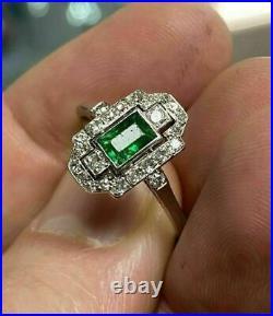 Vintage Retro Era Engagement & Wedding Ring 14K White Gold Over 1.7 Ct Emerald