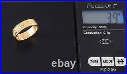 Vintage / Retro Solid 18Ct Gold Engraved Patterned Wedding Ring / Band c 1942
