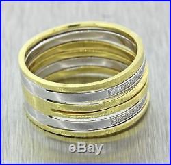 Vintage Simon G 18k Yellow White Gold Diamond Stacked Wedding Band Ring