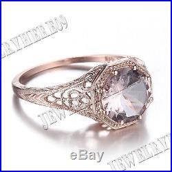 Vintage Solid 10K Rose Gold 8mm Morganite Round Engagement Wedding Fine Ring