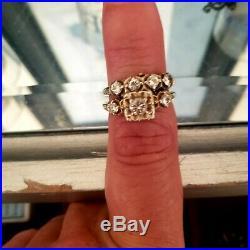 Vintage Solid 14k White Gold Wedding Ring Set Size 6 1/2.7 appraisal 1200.00