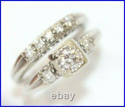Vintage-Style 14K WHITE GOLD, DIAMOND 2-Piece Wedding Ring/Band Set SIZE 7