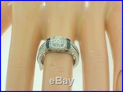 Vintage Style 14k Gold Wedding Ring And Band Set With Diamonds And Sapphires