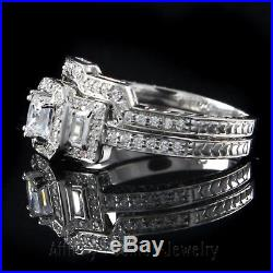 Vintage Style 2 ct Princess & Baguette D/VVS1 Diamond 14K Solid Gold Bridal Ring