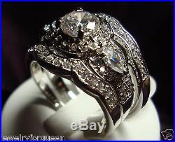 Vintage Style 2 or 3 pcs 2.31+ ctw CZ Women Engagement Wedding Rings set 5-10