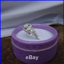 Vintage Style Halo 18kt WG Diamond Engagement/Wedding Ring 1.10 TCW. 60 Center