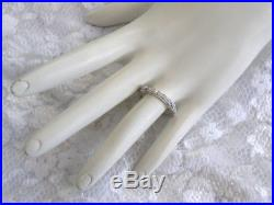 Vintage Style Wedding Band 14kt Solid White Gold 18 Genuine Diamond Deco Ring