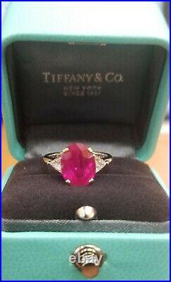Vintage Tiffany & Co PLATINUM & 18K Natural Burma ruby ring 3.90ct. GRS CERT