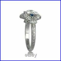 Vintage Victorian Engagement & Wedding Ring 2 Ct Round Diamond 14k White Gold Fn