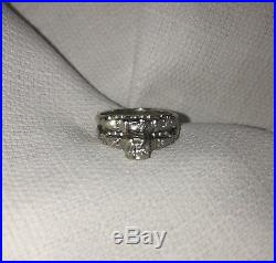 Vintage WEDDING RING SET White Gold & Diamonds Art Deco Genuine