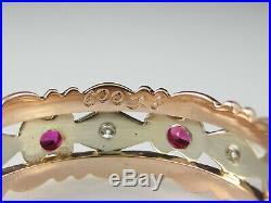 Vintage Wedding Band 14K Rose White Gold Ruby Diamond Retro Estate Size 7.25