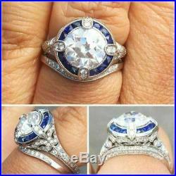 Vintage engagement bridal ring sets 3.9ct white round cut diamond 14k white gold