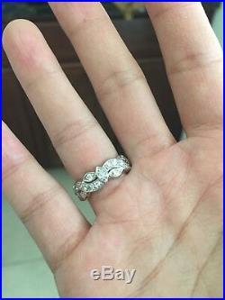 Vintage white gold diamond eternity wedding anniversary band ring