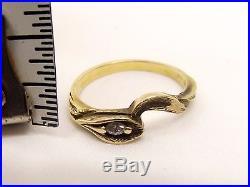 Vtg 14K Gold Diamond Bridal Ring Set Engagement Wedding Sz 6 Calla Lily Custom