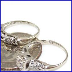 Vtg 14K White Gold Art Deco 1/20 ct Diamond Wedding Engagement Ring Set Sz 4.75