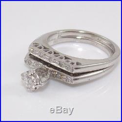 Vtg 18K White Gold 0.20ctw Diamond Wedding Engagement Band Ring Set Sz 5 ZD