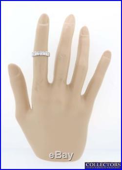 Vtg. 18k White Gold. 85ctw Princess Baguette Diamond 4mm Wedding Band Ring Y8