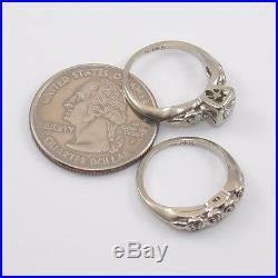 Vtg Antique 14K White Gold Diamond Wedding Engagement Ring Band Set Sz4.5 LQ3-G