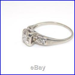 Vtg Antique 14K Wht Gold Art Deco Diamond Wedding Engagement Ring Size 8.25 GHB