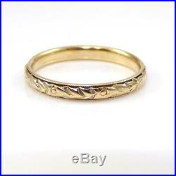 Vtg Antique Art Deco Orange Blossom Wedding Band 18K Yellow Gold Ring Sz6.5 LHE3