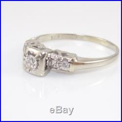 Vtg Antique Estate 14K White Gold Diamond Art Deco Wedding Engagement Ring Sz 8