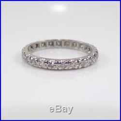 Vtg Antique Platinum 0.45 ctw Diamond Wedding Eternity Band Ring Sz 6.5 LFJ2