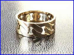 Vtg Solid 14K Yellow Gold Curb Cuban Link Wedding Band Ring 8 mm wide Size 9
