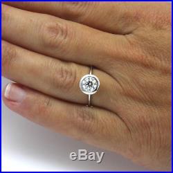 Women 14 Kt White Gold Diamond Round Ring Vintage Style 1.51 Carats Wedding