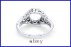 Wedding Vintage Filigree Semi Mount Setting Ring Round Solid 10k White Gold