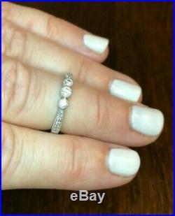 Wedding ring, 3 stone, antique, vintage, unique, platinum, diamond