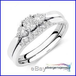White Gold Finish Round Cut Vintage Lab Diamond Wedding Bridal Set Ring Band