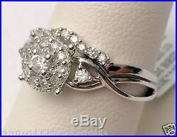 White Gold Halo Vintage Flower Diamonds Bridal Set Wedding Ring with TWO Bands