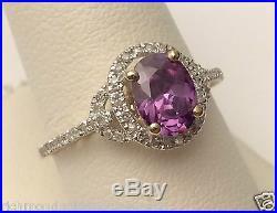 White Gold Oval Halo Vintage Amethyst Diamonds Engagement Wedding Fashion Ring