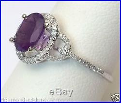 White Gold Oval Halo Vintage Genuin Amethyst Diamonds Engagement Wedding Ring