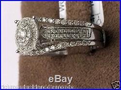 White Gold Oval Halo Vintage Style Diamonds Engagement Bridal Set Wedding Ring